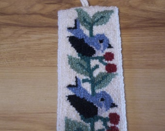 Vintage Latch Hooked  Wall Hanging of Bluebirds