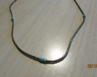 Liquid Sterling Silver Choker Necklace withTurquoise.