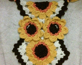 Crochet Sunflower owl potholder