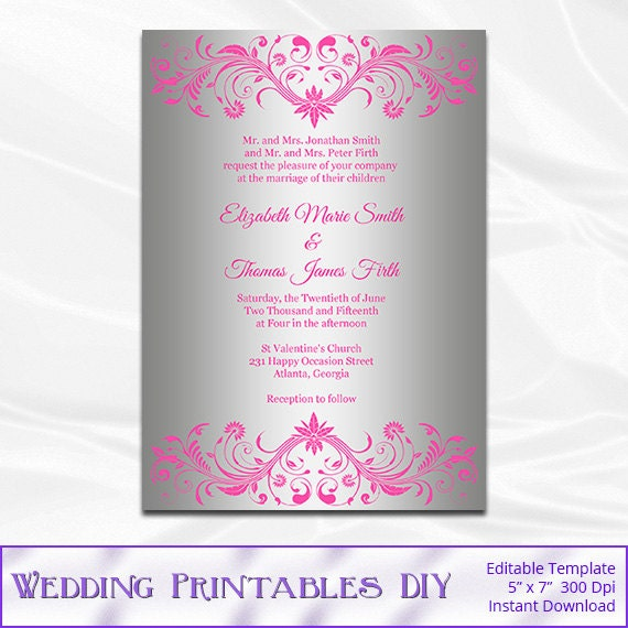 pink and silver wedding invitation template diy foil
