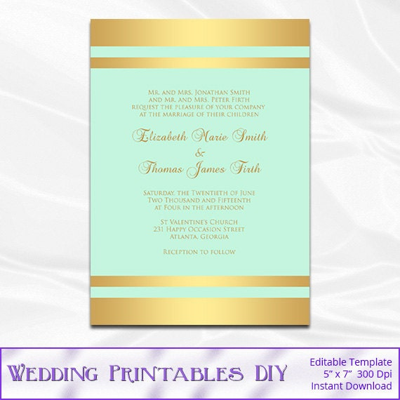 Items Similar To Mint And Gold Wedding Invitation Template, Diy Gold Foil  Striped Shower Party Invites Printable Editable Text Instant Download Pdf  Word ...