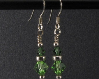 Handwrapped Green Swarovski Crystal and Sterling Silver Earrings (E-11)