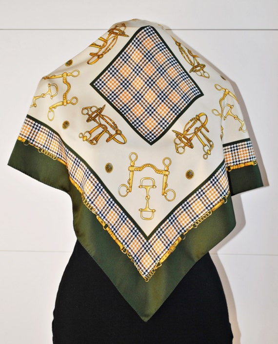 vintage equestrian scarf green and gold bandana pocket