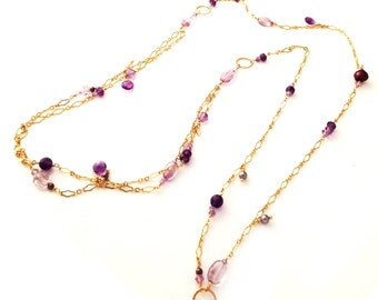 Violet Swarovski Crystals, Pearls & Gemstones Necklace in 14k Gold Fill - 533