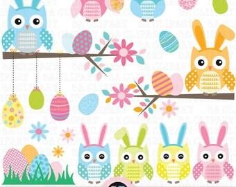 "Easter Owl Clip Art, ""EASTER OWL"" clip art, Easter Clipart,Egg clip art, Flower,Tree Branch,Owl,Easter Egg,Owl Bunny,Instant Download Est002"