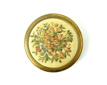 VINTAGE POWDER COMPACT - very collectable old mirror compact / sweet floral design / petit point, tapestry / Made in England