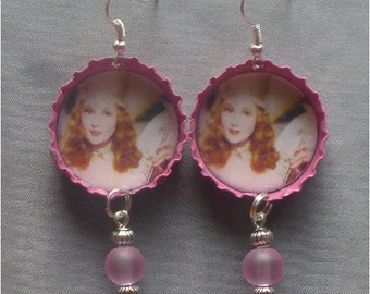 Wizard of Oz - Glinda Pink Bottle Cap Earrings