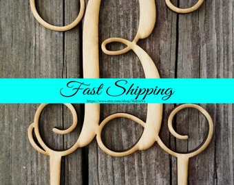 Wooden Monogram Cake Topper - Unfinished Wooden Initial Cake Topper - Custom Monogram Cake Topper - Wedding Cake Decor