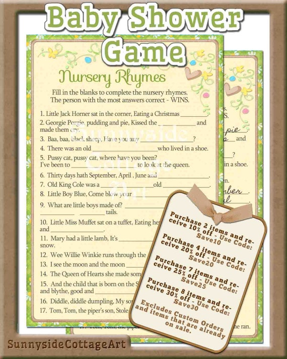 baby shower printable game nursery rhyme printable game fun baby