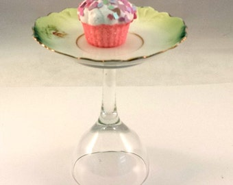 Vintage and crystal Serving Dish plate dainty upcycled repurposed glass ware food display serving dish candy dish cupcake display