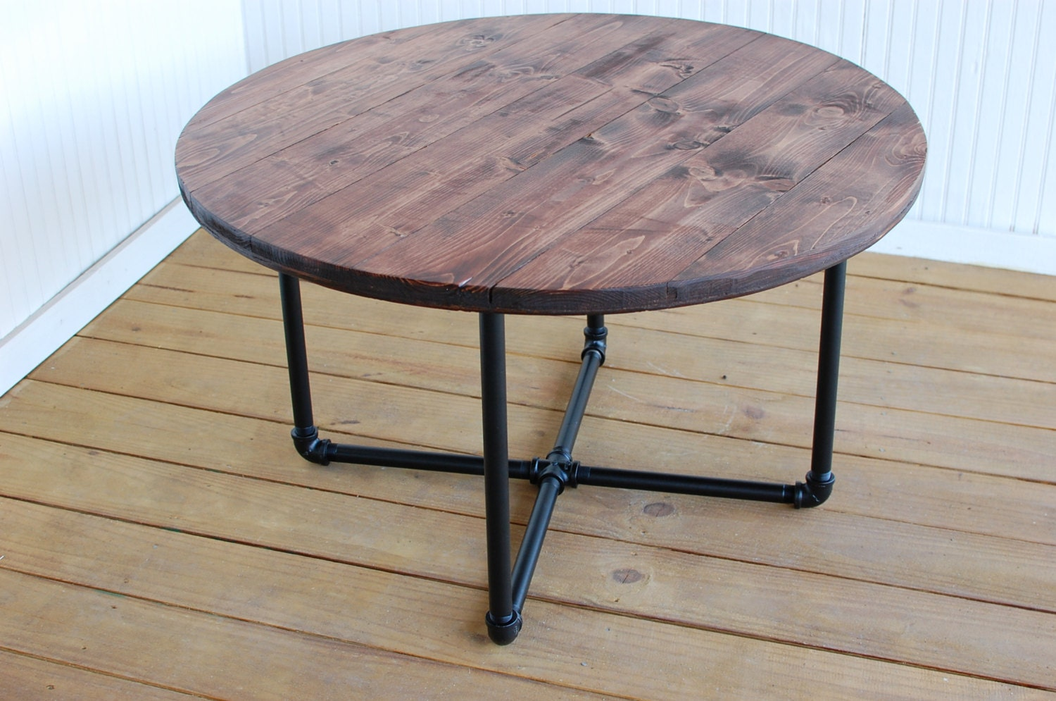 Round industrial coffee table reclaimed by sumsouthernsunshine for Rustic pipe table