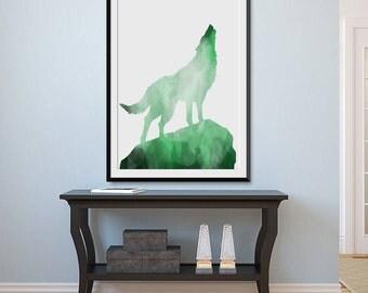 Wolf, Emerald Wolf, Wolf Printables, Emerald,  Wolf Print, Wolf download, Instant Download, Digital, Art,  Download, Art Print