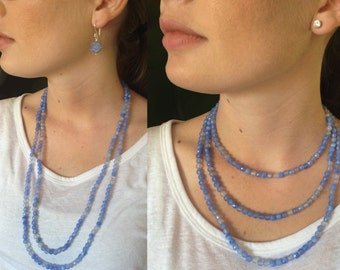 Blue Fire Agate Faceted Natural Genuine Rounds Long Necklace with 925 Sterling Silver and Hill Tribe Silver