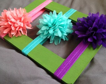 Large Flower Headband Set (3), peach-pink, aqua-teal, and purple