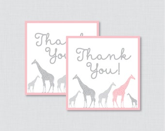 Printable Giraffe Baby Shower Favor Tags Thank You Tag for Giraffe Baby Shower - Printable Instant Download - Pink Giraffe Favor - 0011-P