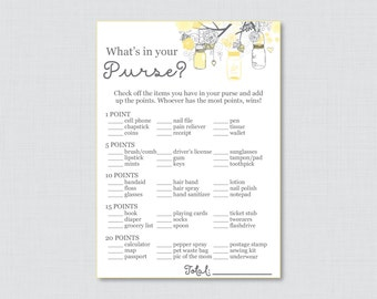 Mason Jar Baby Shower What's in Your Purse Game - Printable Instant Download - Yellow and Gray Baby Shower Purse Game - Mason Jar 0064-Y