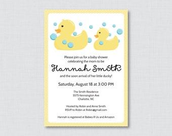 Rubber Ducky Baby Shower Invitation Printable or Printed - Rubber Duck Baby Shower Invites in Yellow - Gender Neutral Duck Invitation 0019-Y