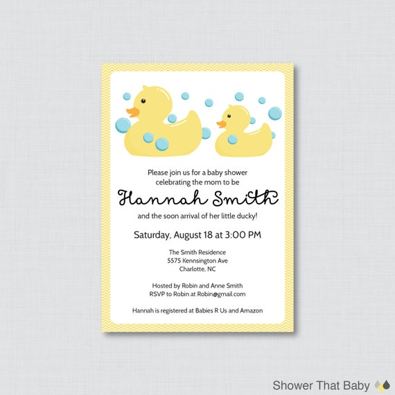 rubber ducky baby shower invitation printable or printed rubber duck
