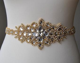 "23"" Luxury Gold Crystal Bridal Sash,Wedding Dress Sash Belt, Rhinestone Bridal Bridesmaid Sash Belt, Wedding dress sash"