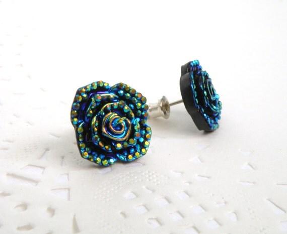 flat back cabochon earrings resin rhinestone half bead in