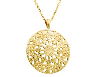 Victorian necklace -GOLD Fill 14K designer hand made jewelry, everyday necklace