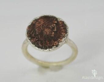 Genuine Roman Coin Ring in Silver, Roman Coin Ring, Electroformed, Coin Ring, Ancient Coin Ring, Ancient Roman Coin Ring, Ancient Coin Ring