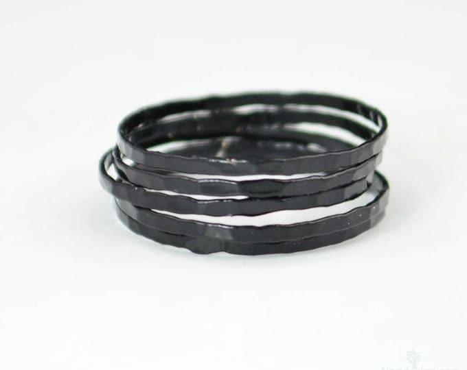 Super Thin Black Silver Stackable Ring(s), Black Ring, Stack Rings, Black Stacking Rings, Black Jewelry, Thin Black Ring, Gothic Ring,black
