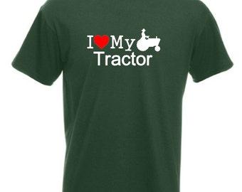 I Love My Tractor T-Shirt Joke Funny Tshirt Tee Farm Farmer