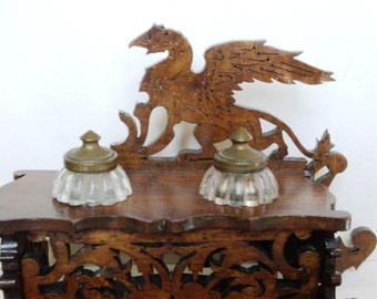 Inkwell with two glasses, one is for the ink, the other for the ashes, rarity, built of wood, very detailed Dragon