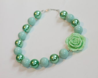 Mint Green Flower and Green Beads Chunky Necklace Girls Jewelry