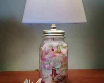 Vintage Ball Mason Jar Table Lamp with Pink & White Flower Petals and White Lamp Shade, Mason Jar Lamp, Country Decor,Small Table Lamp Light
