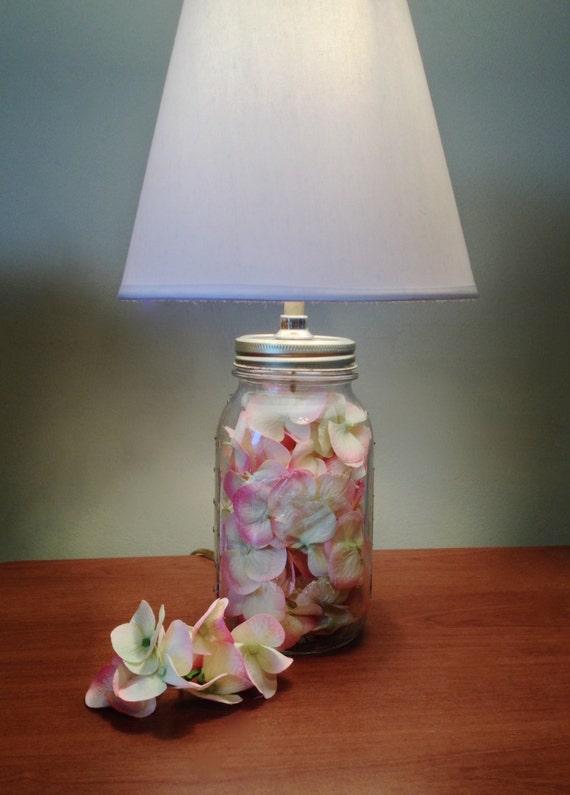 white lamp shade mason jar lamp country decor small table lamp light. Black Bedroom Furniture Sets. Home Design Ideas