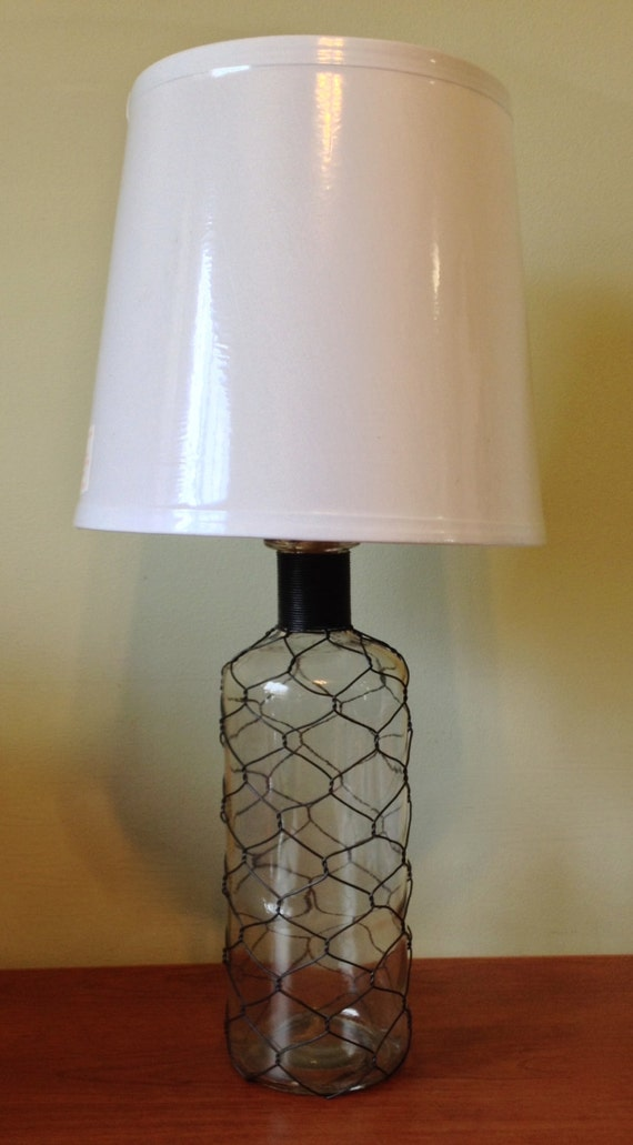Glass Bottle Wrapped In Chicken Wire Table Lamp Desk Lamp