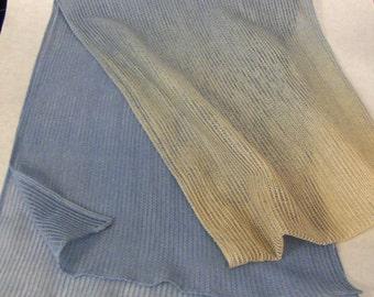 VINTAGE 1990's Beige & Slate Blue Ombré Mesh Neck Scarf, Hair Scarf, Head Scarf