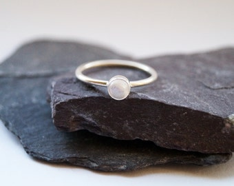 Rainbow Moonstone Sterling Silver Ring ~ statement ring, stacking ring, gemstone, unique, beaded, birthstone, solitaire