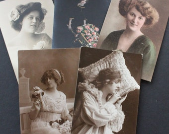 Vintage Unused Postcards Edwardian British 5 Women Early 1900s Collectables Greetings Arts Crafts Collage Scrapbooking Cardmaking Supplies