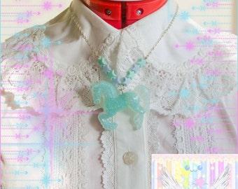 Lolita Blue Glitter Horse Pastel Star Bead Necklace