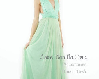 Bridesmaid Dress Infinity Dress Aquamarine with Mesh Maxi Floor Length Wrap Convertible Dress Wedding Dress