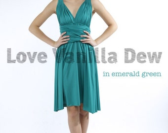 Bridesmaid Dress Infinity Dress Straight Hem Emerald Green Knee Length Wrap Convertible Dress Wedding Dress