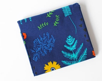hand drawn floral fabric   Fernbrook Navy Mesa by Alexia Abegg for Cotton + Steel   botanical ferns, blue quilting cotton, by the yard