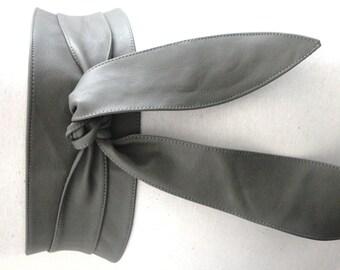 Grey Leather Obi Tulip Tie | Corset Belt | Leather tie belt | Real Leather Belt | Sash Belt | Plus Size