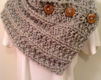 Gray Heather Knit Neck Warmer or Cowl