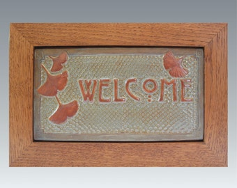 Framed Gingko Welcome Sign. Arts and Crafts tile, Wedding or Housewarming  gift!