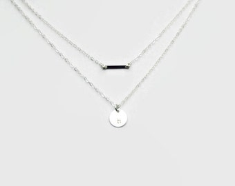 Layered Necklace Set - Silver Bar and Disc