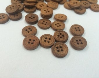 "48 Pieces 5/8"" Natural Wood Button- Organic Buttons-  Rosewood Look Buttons-Blazzer Buttons - Brown Buttons- Jacket Buttons - Ring Buttons"
