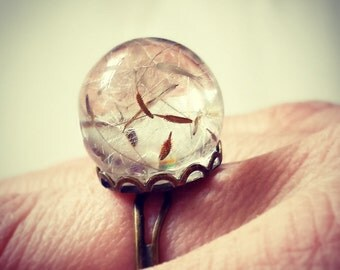 Dandelion seeds Resin Adjustable Ring. Make a wish jewelry.