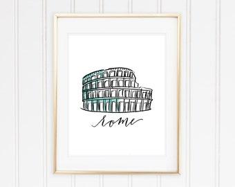 Rome- Colosseum Lettering & Watercolor Print 8 x 10
