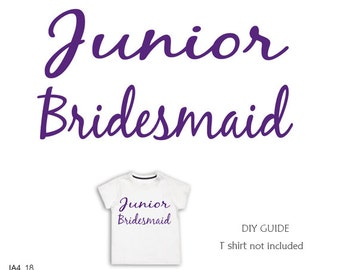 Junior Bridesmaid ,Bridal party iron on transfers ,Wedding party  iron on