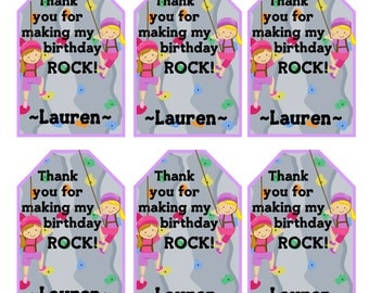 Girls ROCKWALL Birthday Party Thank You Tags Rock Climbing