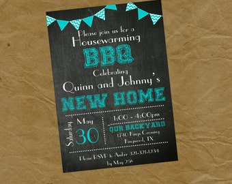 BBQ Housewarming Party Invitation - Shower - Digital or Printed